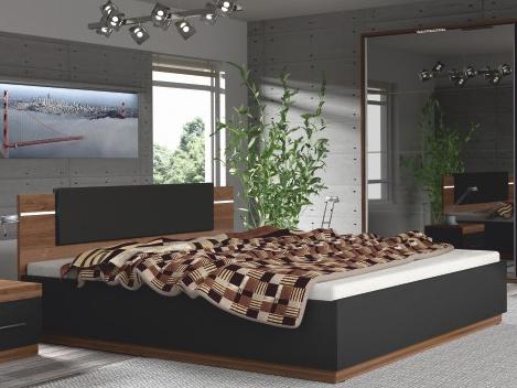 Manželská posteľ 180 cm Degas (LED osvetlenie) (orech + čierna)