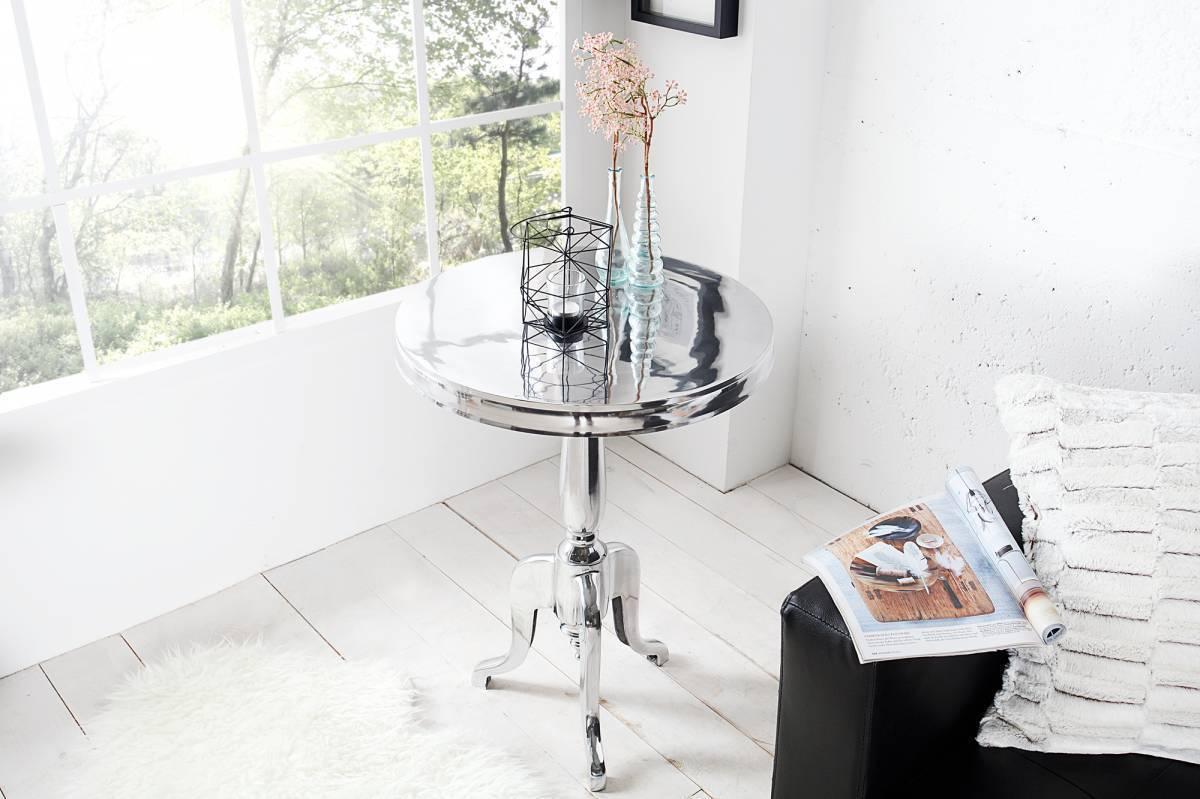 Barokový odkladací stolík JORDAN ROUND 75 cm - strieborná