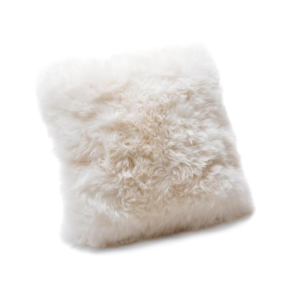 Biely vankúš z ovčej vlny Royal Dream Sheepskin, 45 x 45 cm