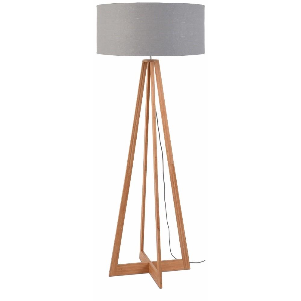 Stojacia lampa so svetlosivým tienidlom a konštrukciou z bambusu Good&Mojo Everest