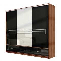 HOLAND šatníková skriňa so zrkadlom 250L čierny lesk