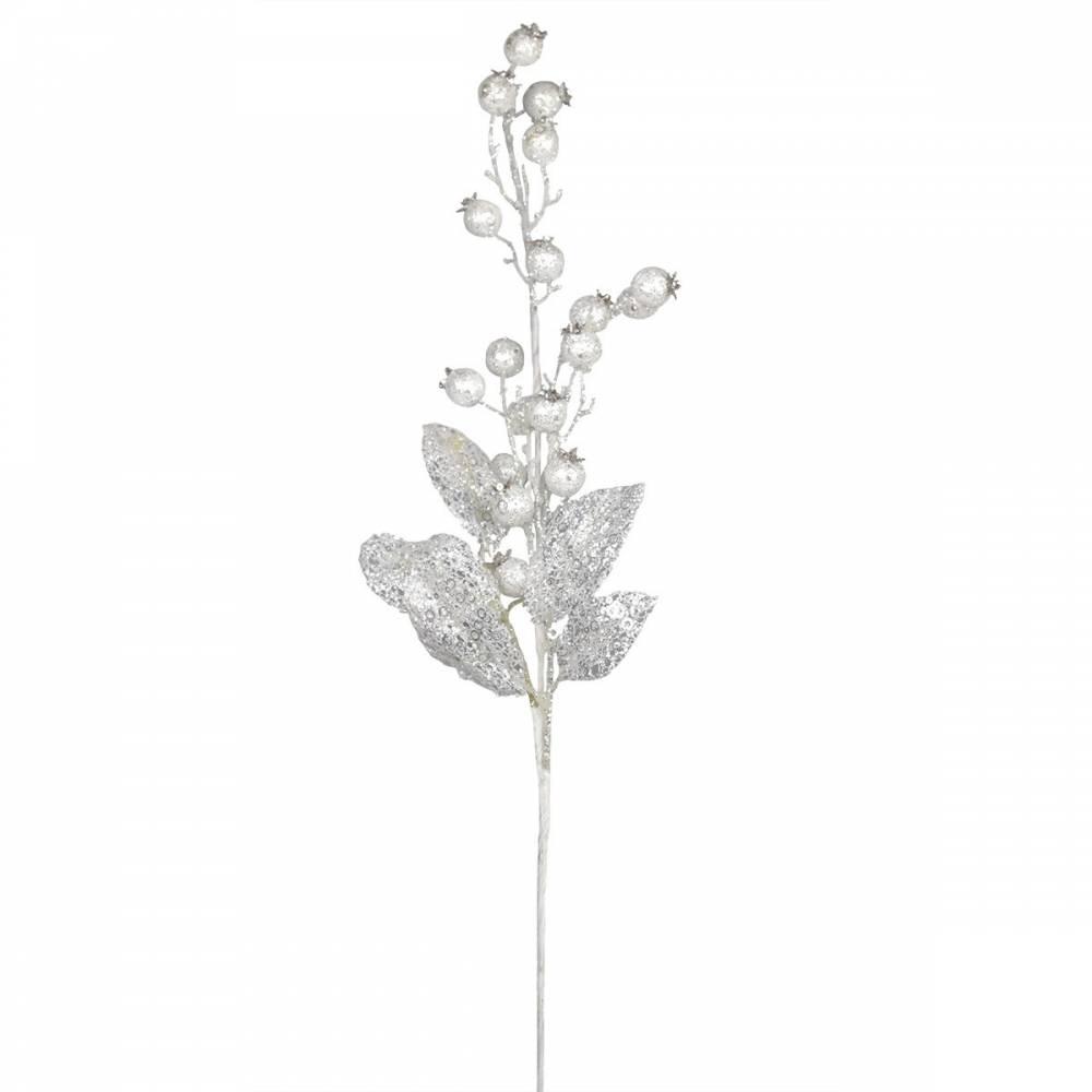 Vianočná vetvička Šípky biela, 80 cm