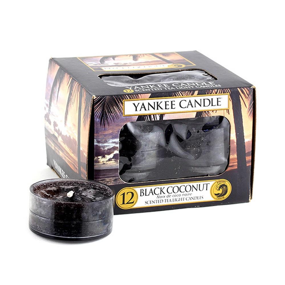Sada 12 vonných sviečok Yankee Candle Čierny Kokos, doba horenia 4 - 6 hodín
