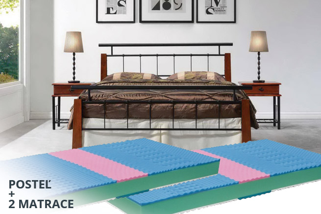 KOMPLET - posteľ Hero 180 + 2 matrace Natura