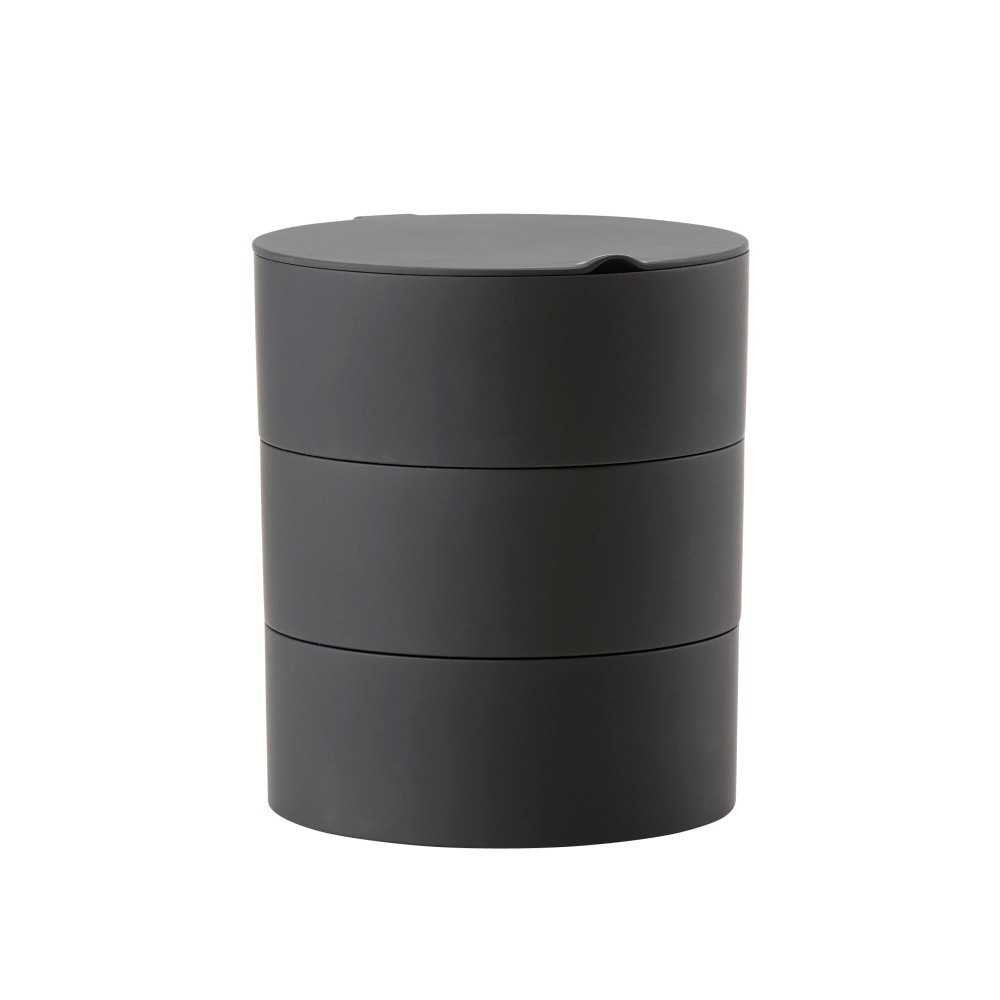 Čierny trojposchodový úložný box so zrkadielkom Zone Slide