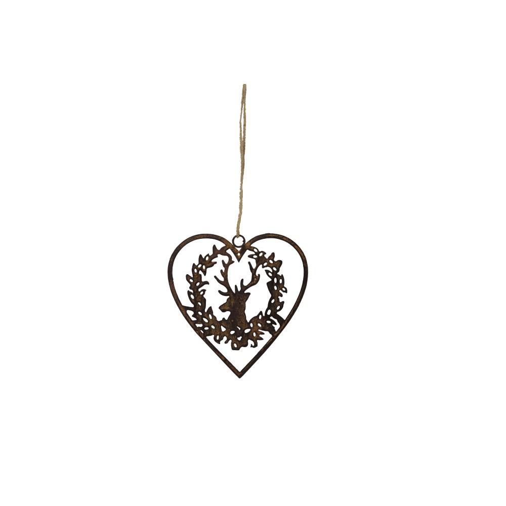 Závesná dekorácia v tvare srdca Antic Line Deer