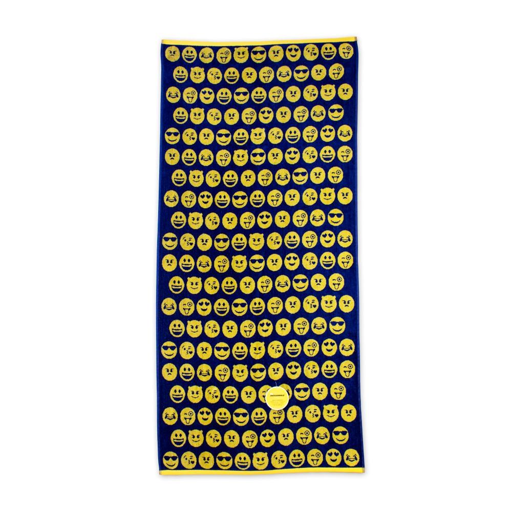 Čierno-žltá plážová bavlnená osuška Bergner Emoticon, 75x150cm