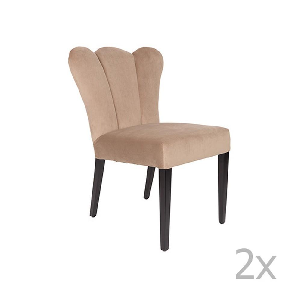 Sada 2 béžových stoličiek White Label Faye