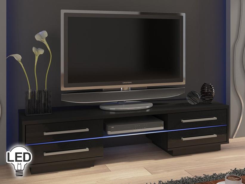 TV stolík/skrinka Laguna (čierna + lesk čierny)