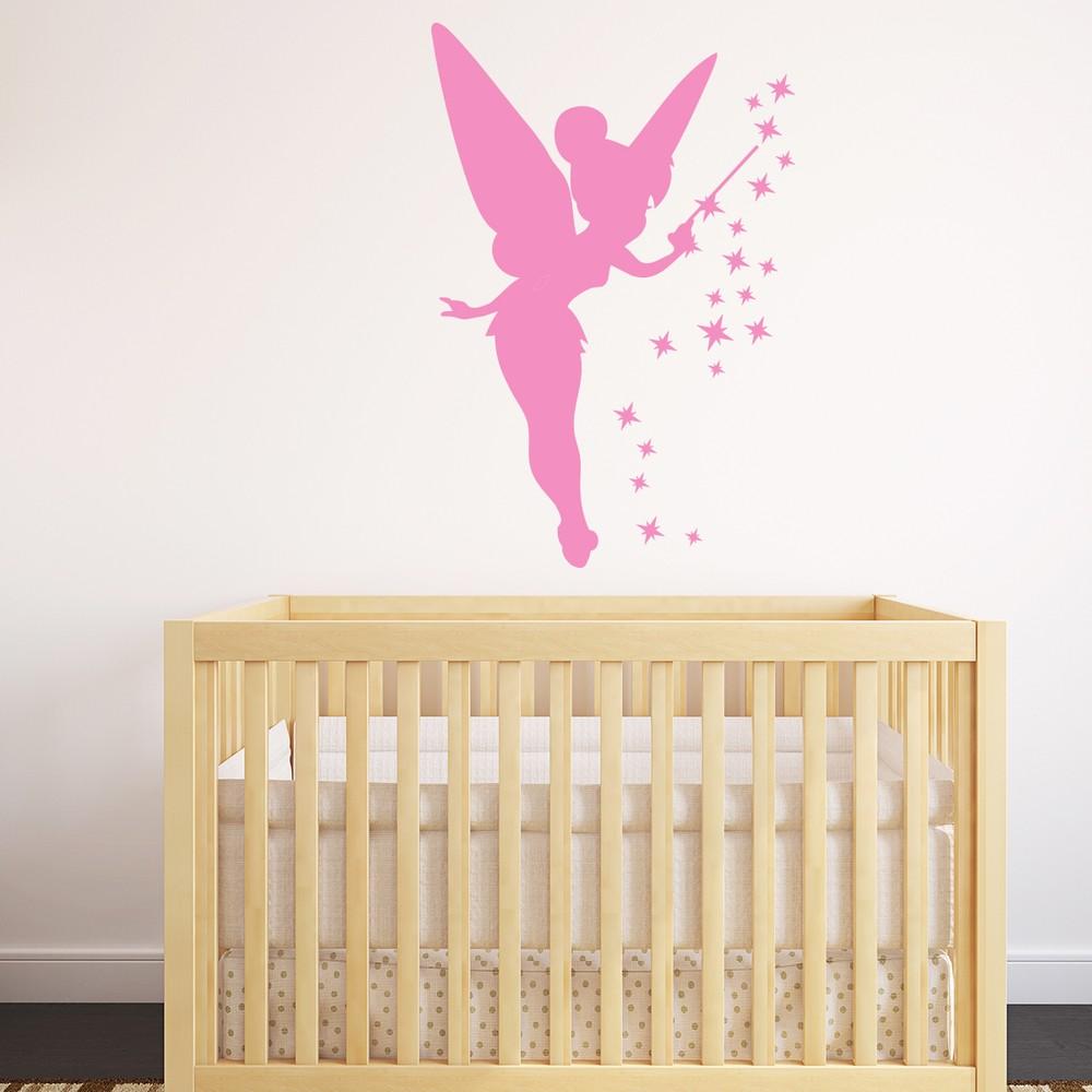 Ružová samolepka Ambiance Fairy, 45 x 30 cm