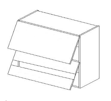 WS80GRF2 horná vitrína dvojvýklopná MYA, picard/biely lesk