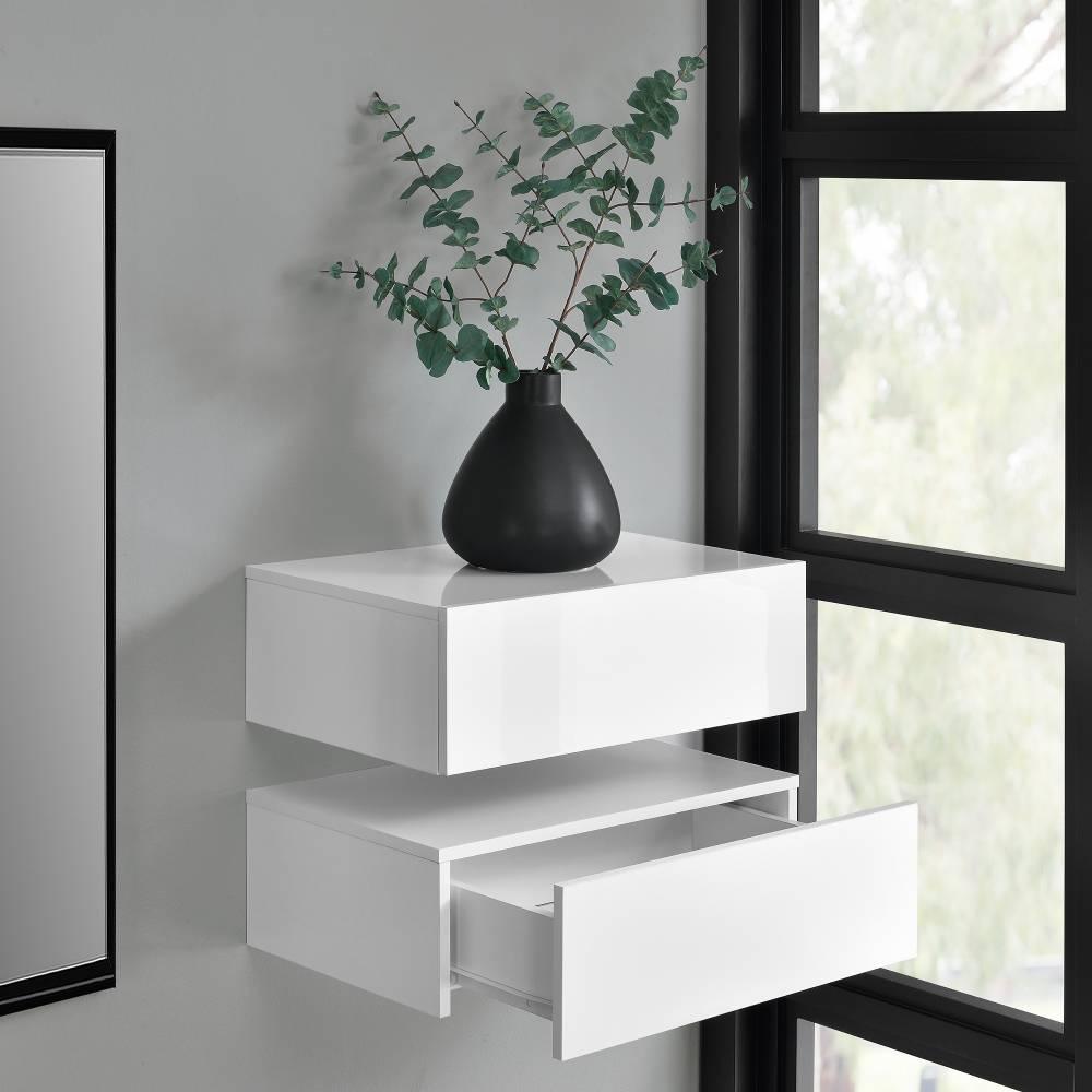[en.casa]® Nočný stolík na stenu - dvojkombinácia - biela s vysokým leskom/biela matná