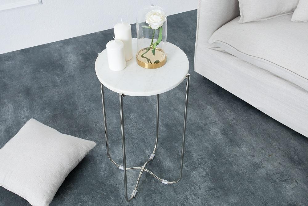 Bighome - Príručný stolík NOBL - biela , strieborná