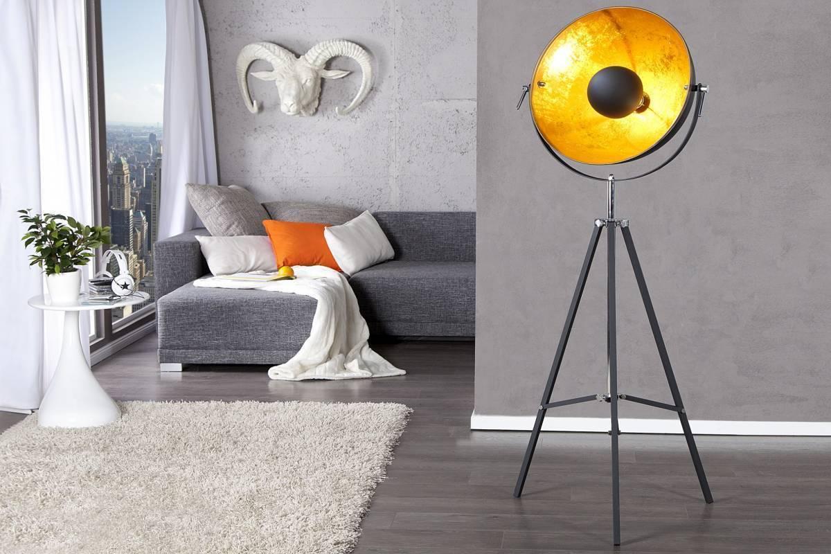 Stojaca lampa SADO 140 cm - čierna, zlatá