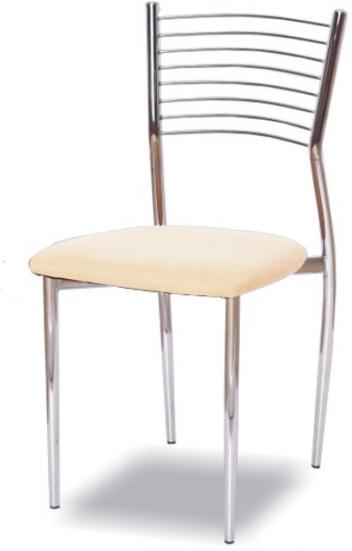 Stolička, ekokoža béžová/chróm, ZAIRA