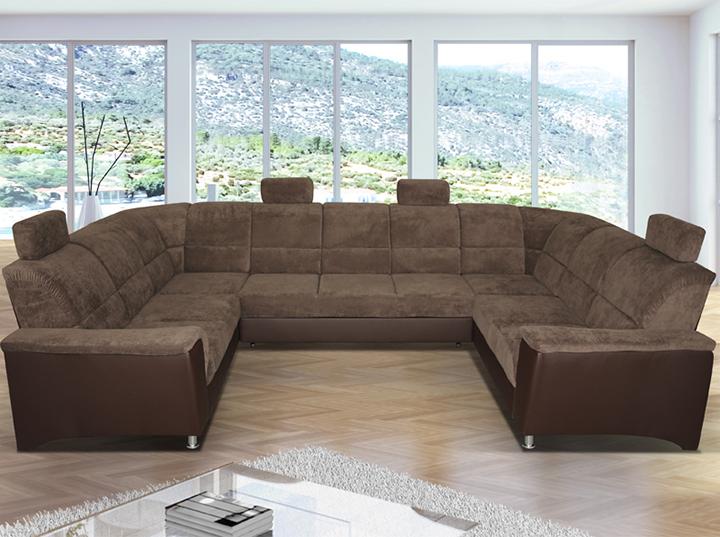 U sedacia súprava, univerzálna, ekokoža hnedá 1113/látka Matrix 5 hnedá., SANTIAGO