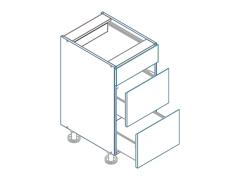 D60S3 dolná skrinka s 3 zásuvkami AURA, mocca/šedá