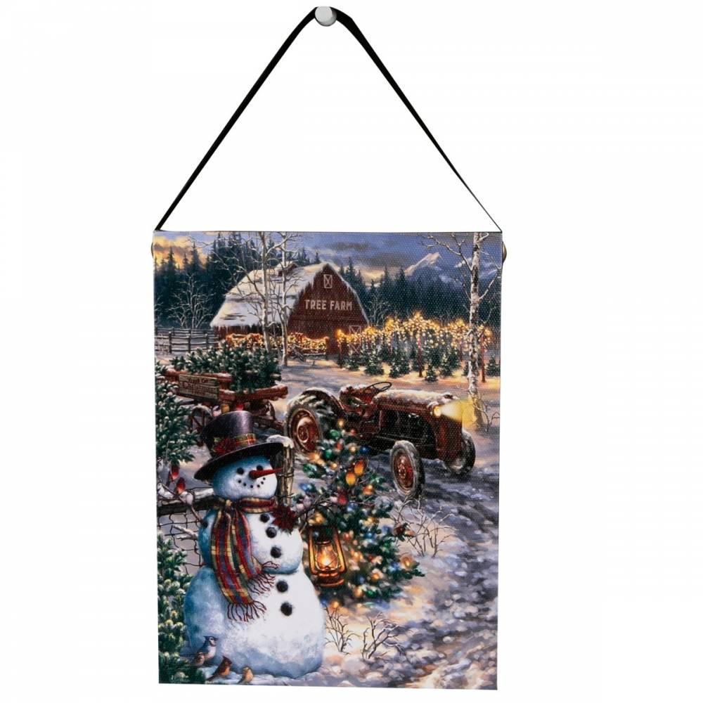 Altom LED obraz na plátne Snehuliak na farme, 15 x 20 cm