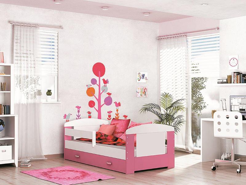 Detská posteľ FILIP COLOR s úložným priestorom   Farba: biela / ružová