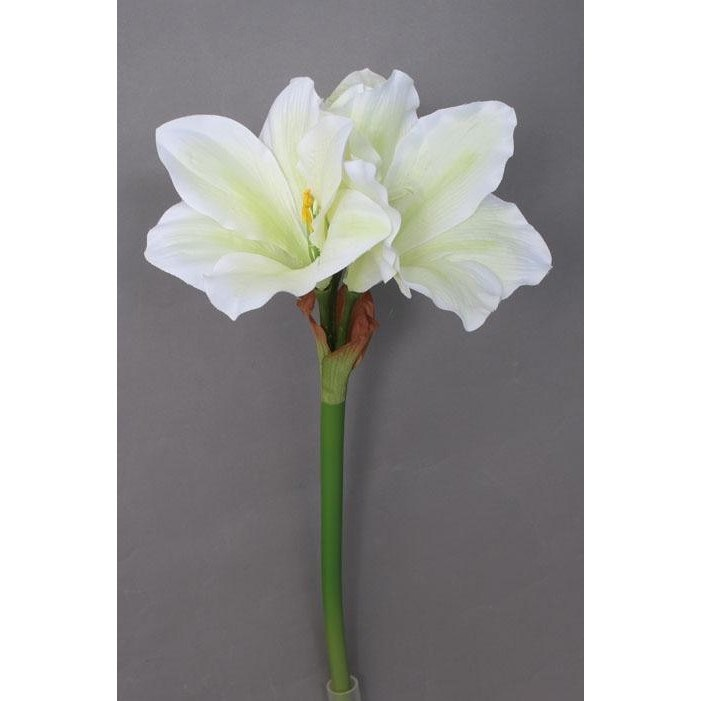 Umelá Amarylis bielozelená, 52 cm