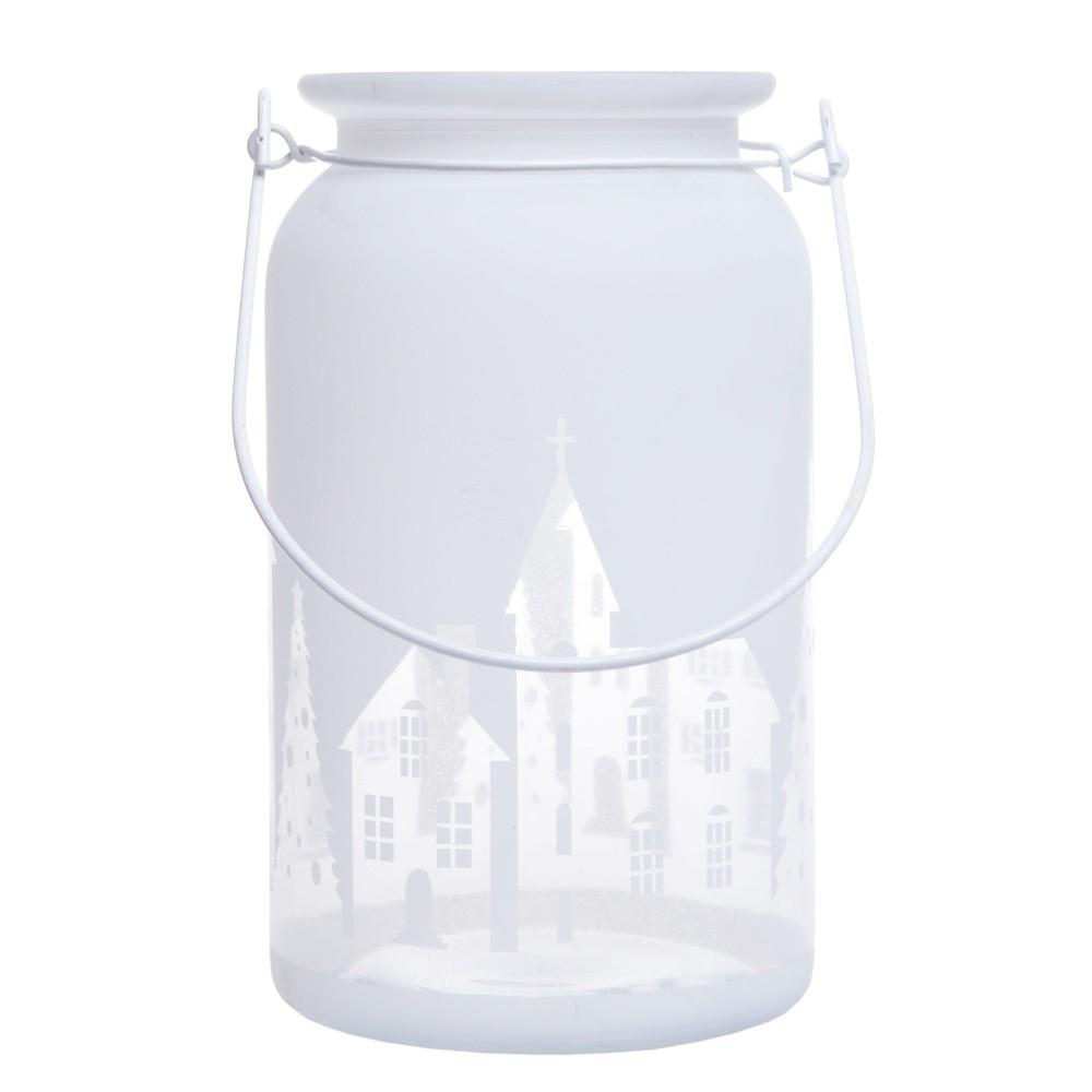 Biely sklenený svietnik Ewax Village, ⌀ 10 cm