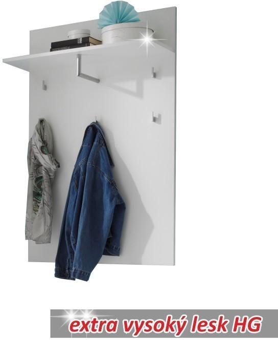 TEMPO KONDELA SPACE vešiakový panel - biely vysoký lesk