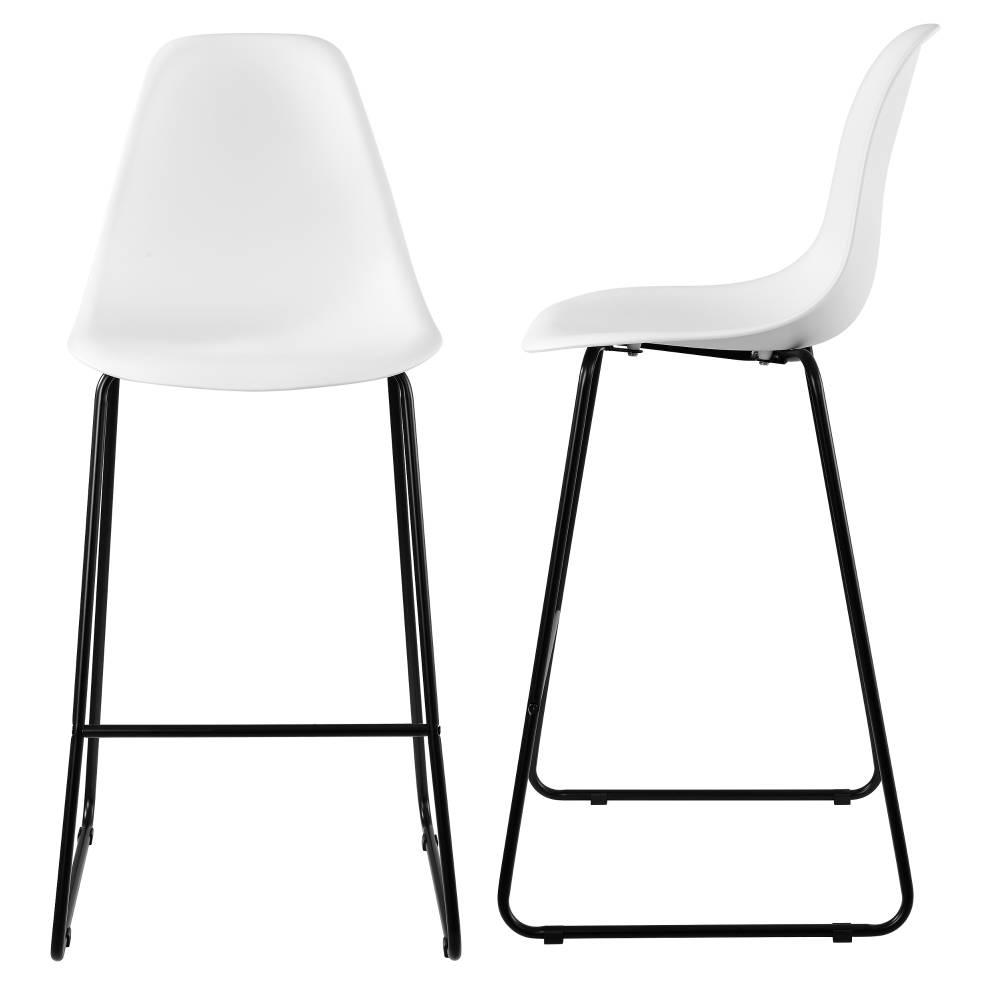 [en.casa]® Dizajnové barové stoličky (2 kusová sada) - biele