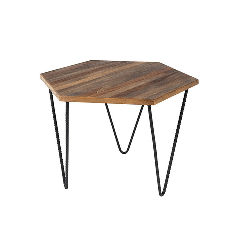 Odkladací stolík z recyklovaného teakového dreva White Label Cor