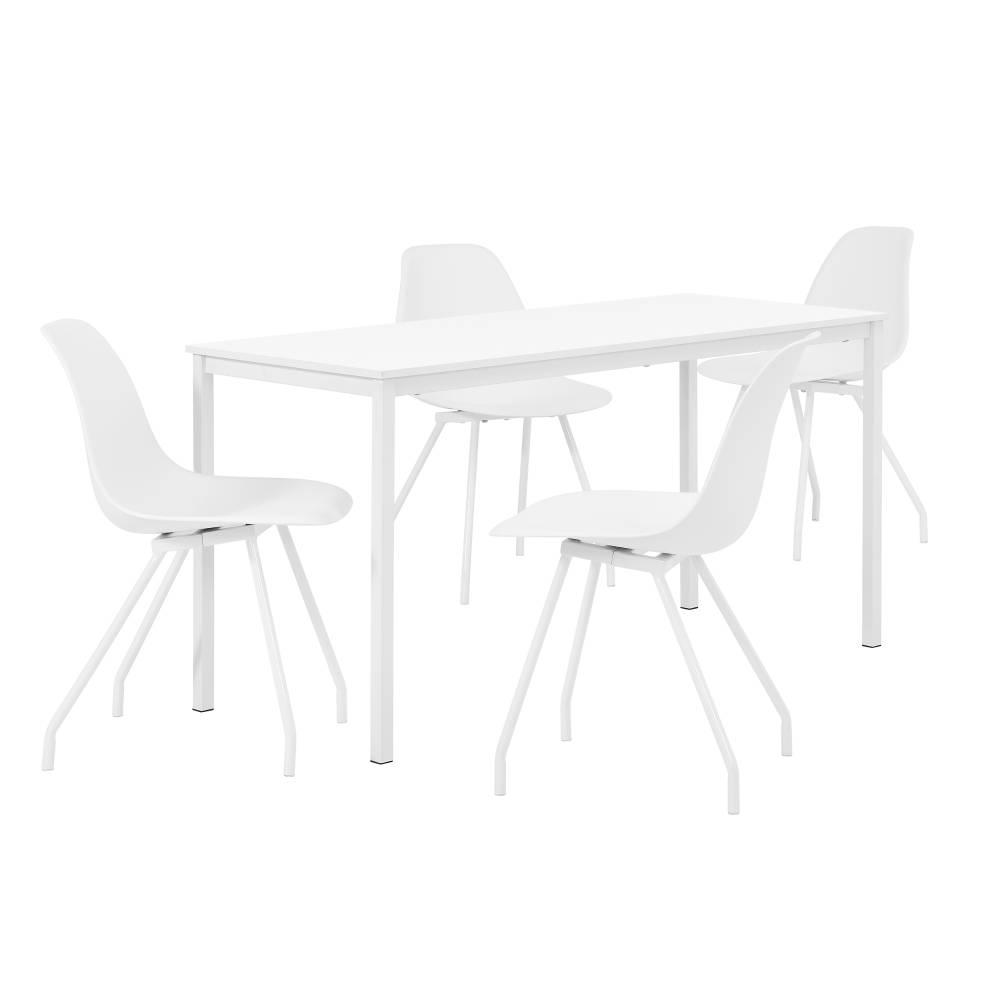 [en.casa]® Štýlová dizajnová jedálenská zostava - biely stôl - so 4 elegantnými stoličkami - bielymi