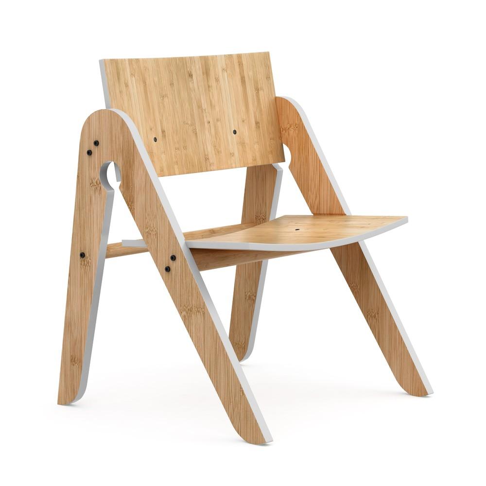 Detská bambusová stolička so sivými detailmi We Do Wood Lilly's