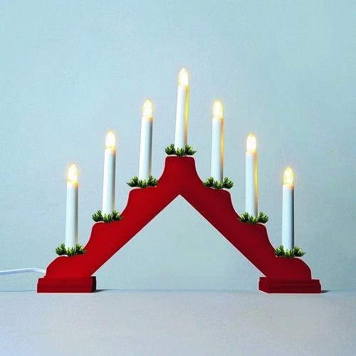 Adventný svietnik LED Filament, červená