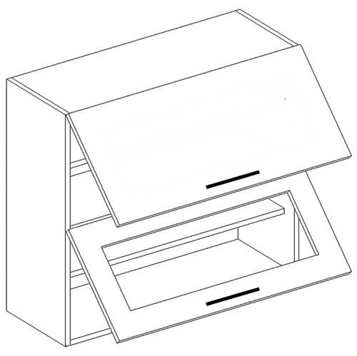 Horná dvojvýklopná skrinka sklené a plné dvierka W60OK LUCCY