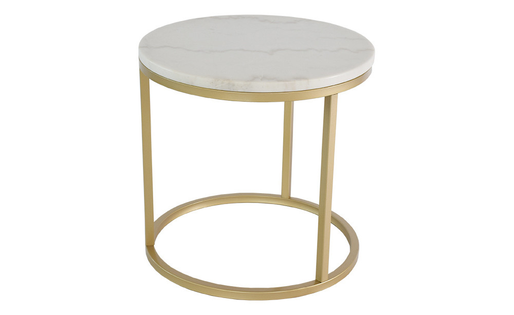 Mramorový odkladací stolík s konštrukciou vo farbe mosadze RGE Accent, ⌀ 50 cm