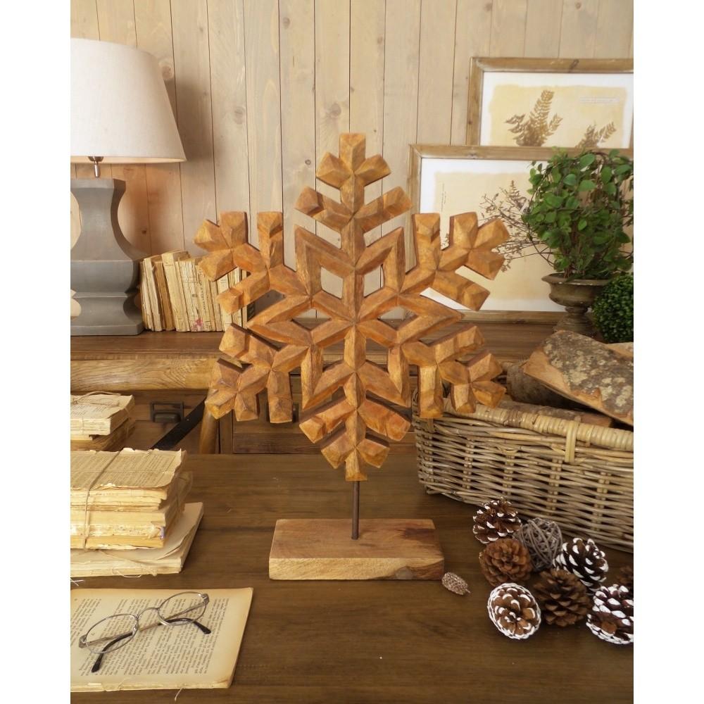 Dekorácia z mangového dreva Orchidea Milano Snowflake, výška 50 cm