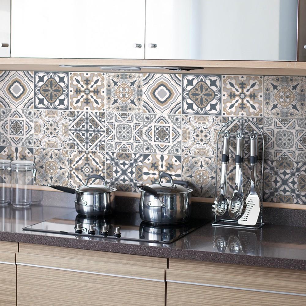 Sada 24 nástenných samolepiek Ambiance Decal Tiles Azulejos Giacomo, 10 × 10 cm