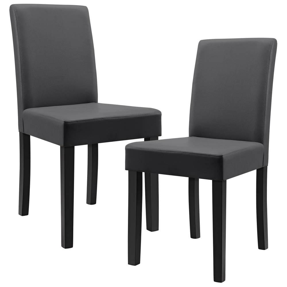 [en.casa]® Dizajnové čalúnené stoličky - 2 kusová sada - tmavo sivé