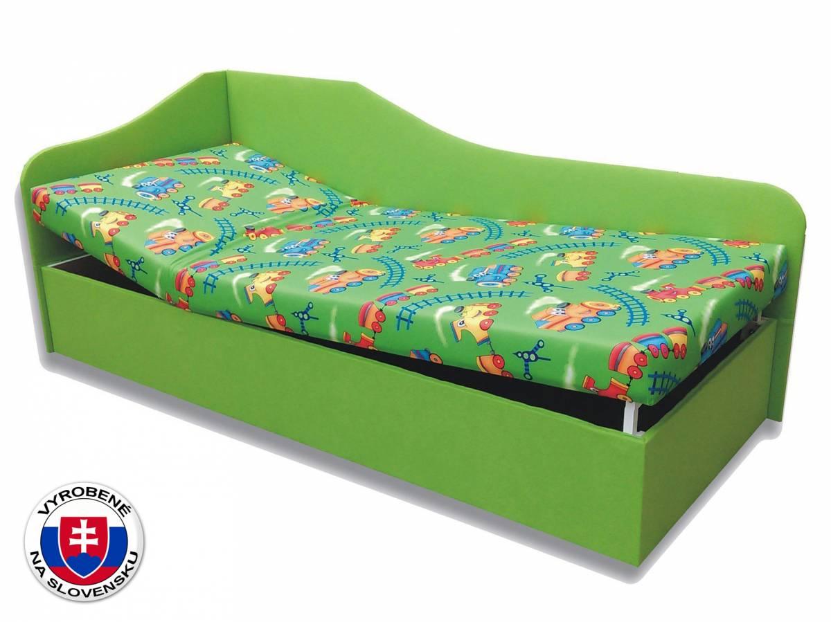 Jednolôžková posteľ (váľanda) 90 cm Anita (Vláčik 4 + Zelená x101) (L)