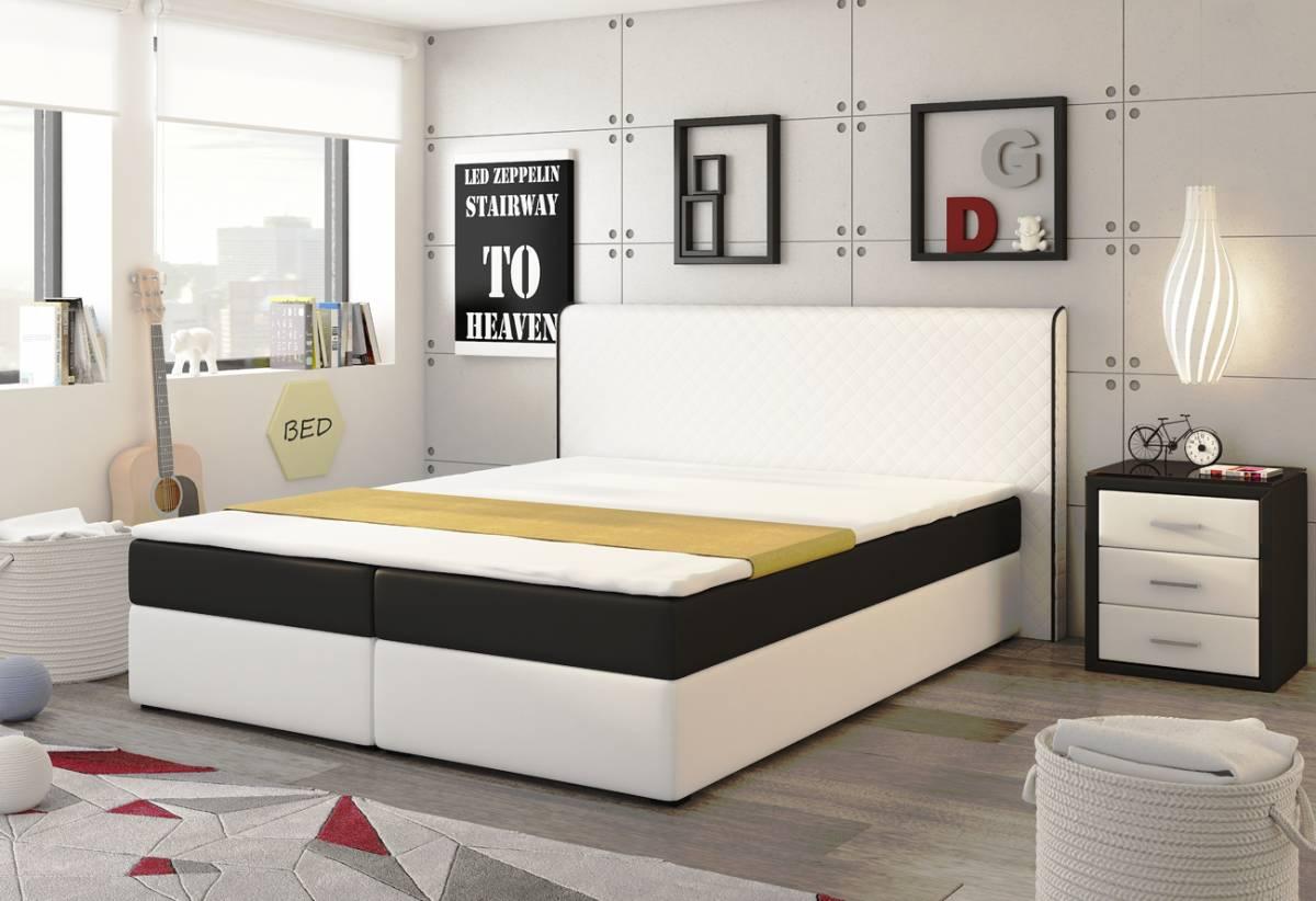 VISA posteľ 180 biela/čierna