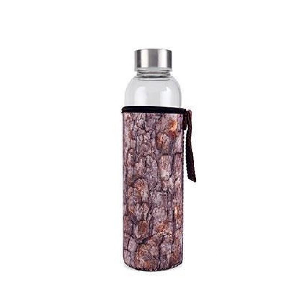 Sklenená fľaša v neoprénovom obale Kikkerland Log, 600 ml