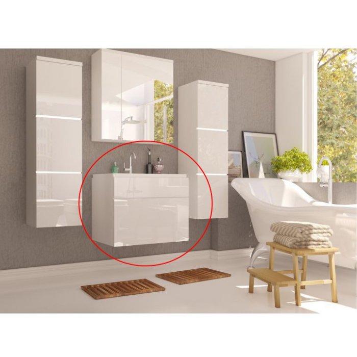 TEMPO KONDELA MASON WH 13 skrinka pod umývadlo - biela / biely vysoký lesk