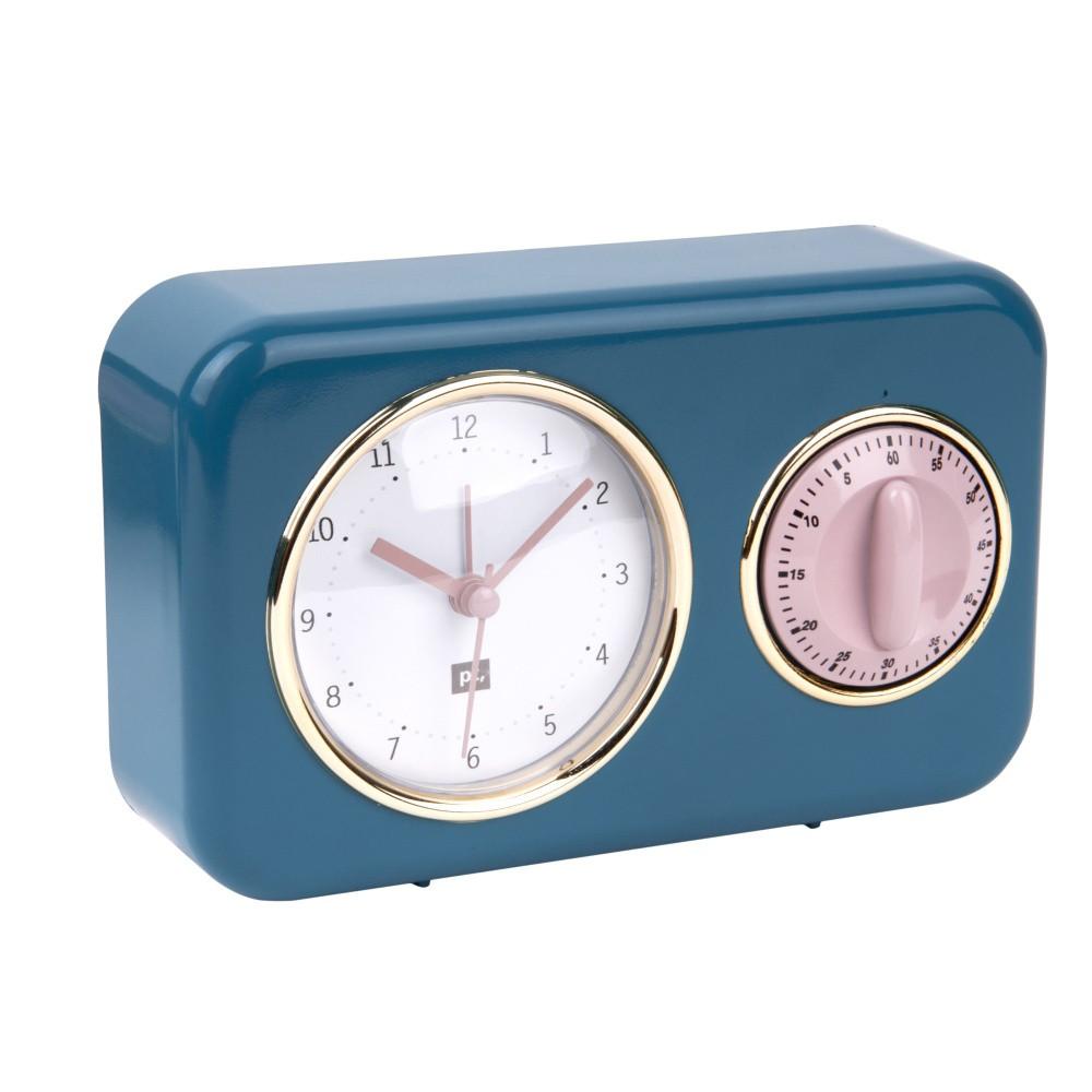 Modré kuchynské hodiny s minutkou PT LIVING Nostalgia