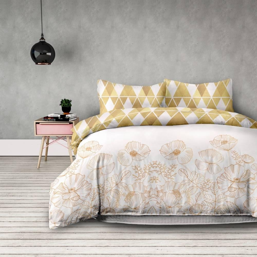 DecoKing Flanelové obliečky Golden poopy, 140 x 200 cm, 70 x 90 cm