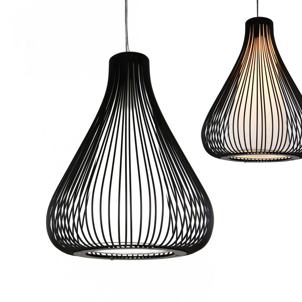 [lux.pro]® Dekoratívna dizajnová design závesná lampa / stropná lampa - čierna / biela   (1 x E27)