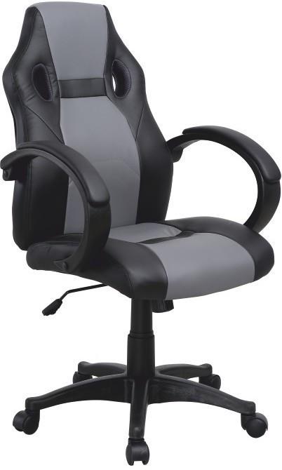 Kancelárske kreslo, ekokoža čierna/ekokoža sivá, LESTER