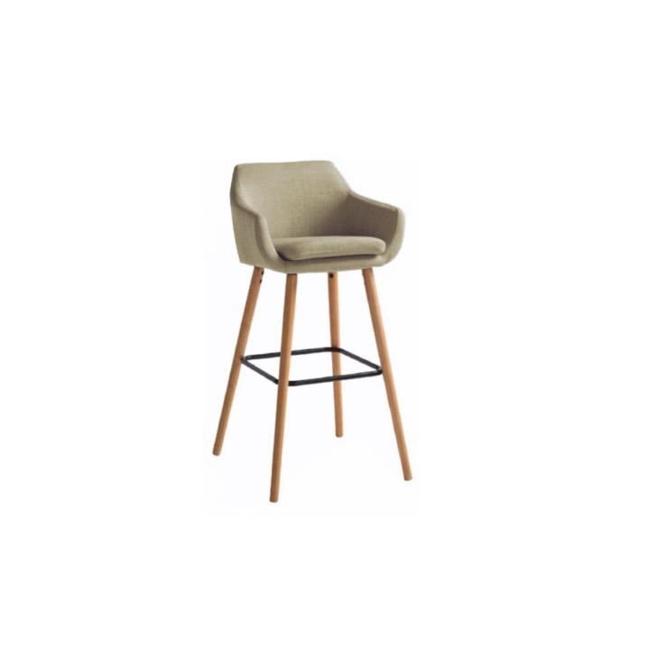 TEMPO KONDELA Barová stolička, béžová látka/buk, TAHIRA