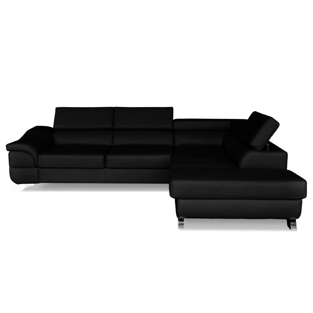 Čierna kožená rohová rozkladacia pohovka Windsor & Co. Sofas Omnikron, pravý roh