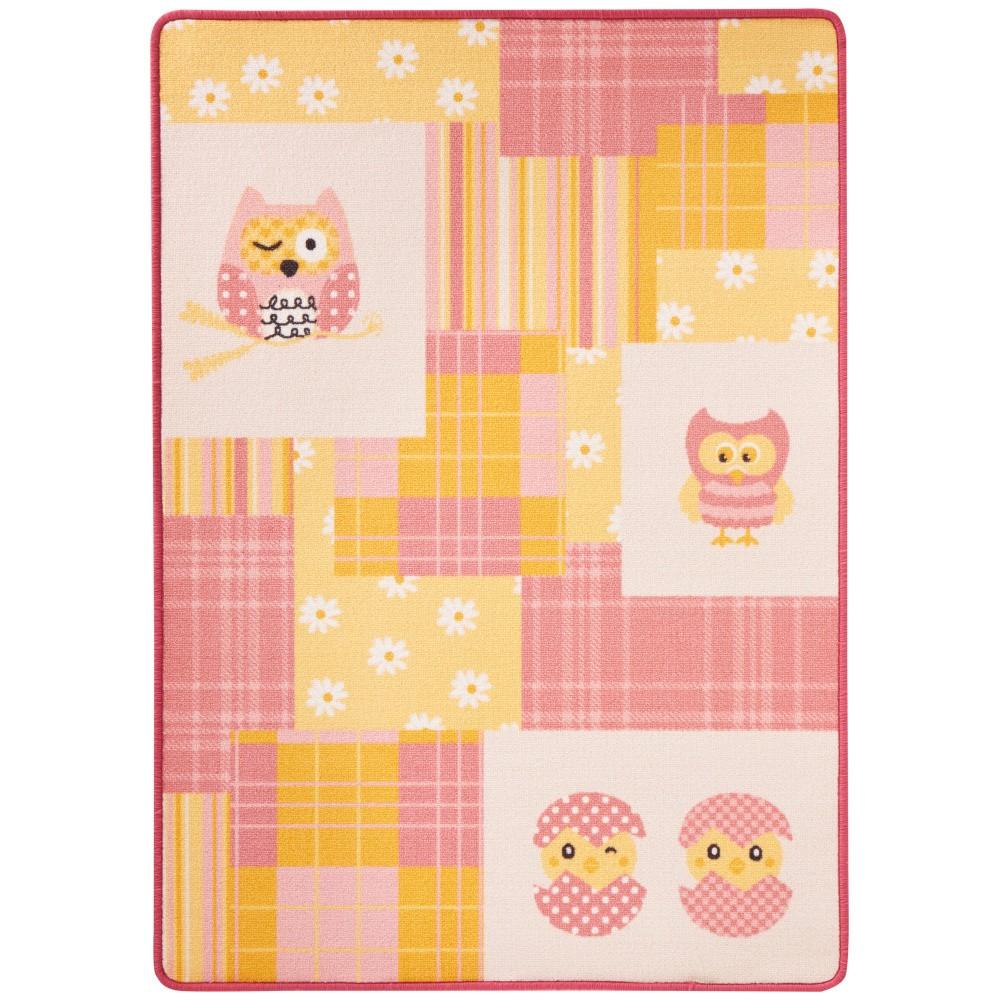Detský ružovo-žltý koberec Hanse Home Sovy pre dievčatá, 100×140cm