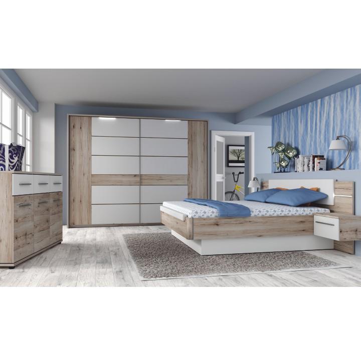 TEMPO KONDELA Spálňový komplet (skriňa+posteľ+2x nočný stolík), dub bergamo/biely lesk, CANBERA