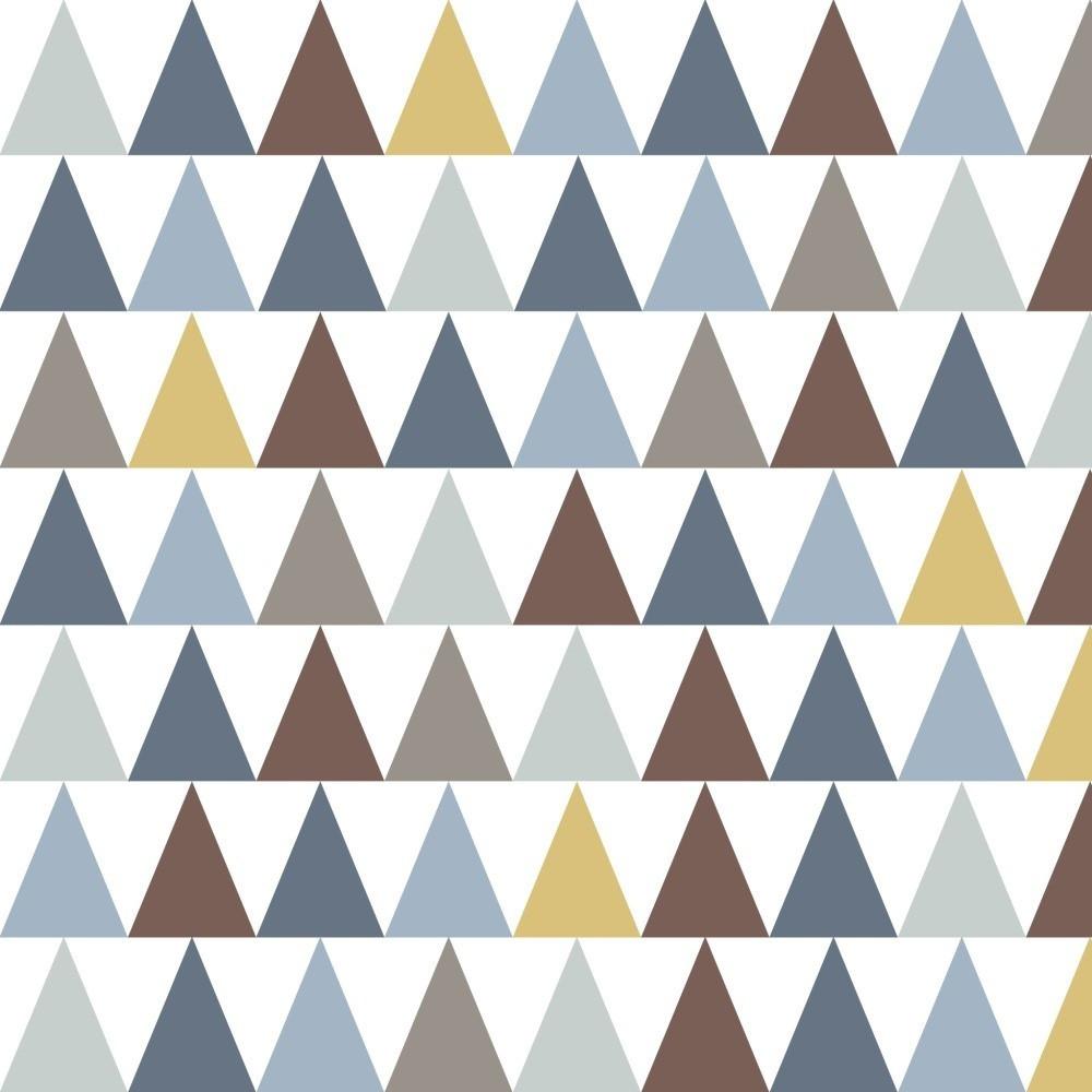 Tapeta do detskej izby s modrými detailmi Art For Kids Triangles, 48x1000cm