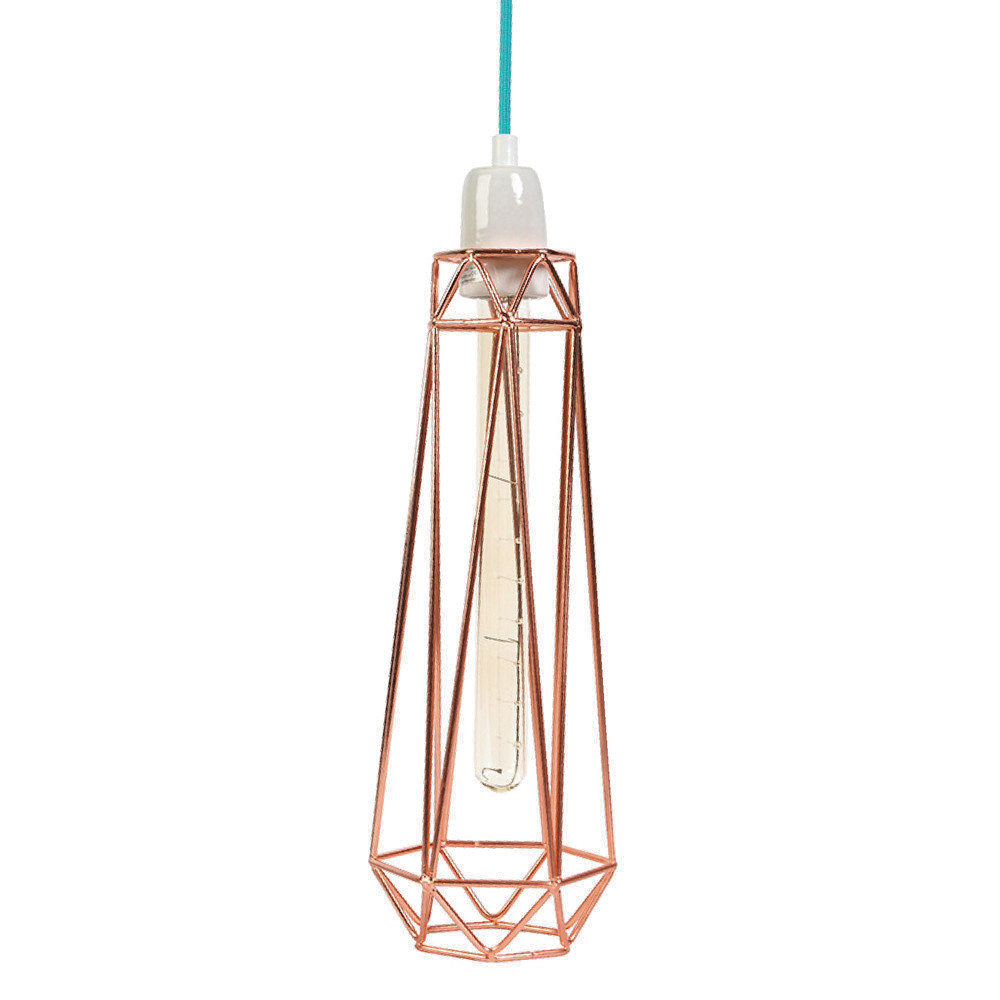 Svetlo s bronzovým tienidlom a modrým káblom Filament Style Diamond #2